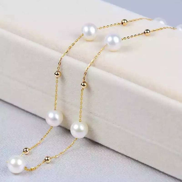 AINUOSHI 18K Yellow Gold Natural Cultured Freshwater Pearl Necklaces Bijoux Femme Gift for Women Wedding Engagement Birthday