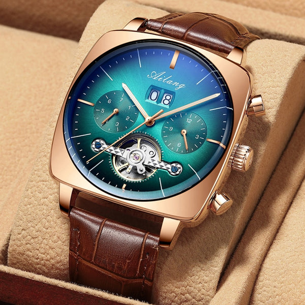 swiss watch mechanical automatic chronograph Square Large Dial Watch Hollow Waterproof 2020 New mens fashion watches luxury