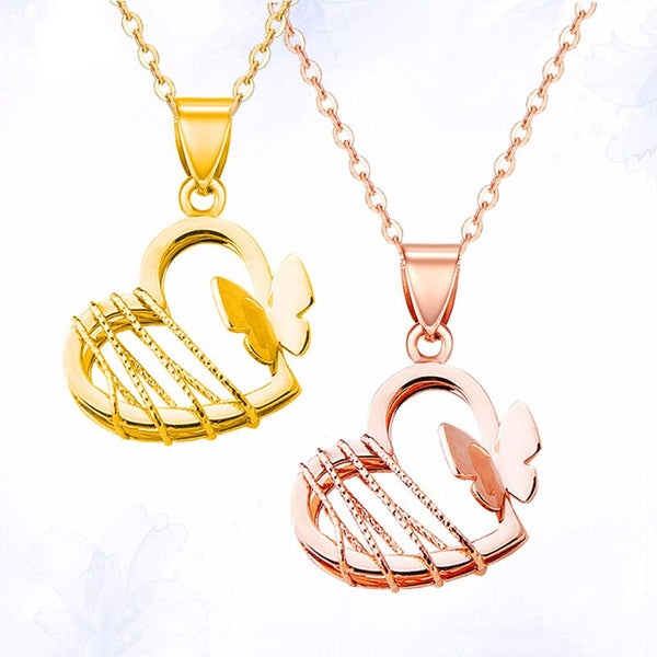 Solid 18k Yellow / Rose Gold Pendant Luck Butterfly Heart Pendant 0.7-1g 16mmH Gift For Women