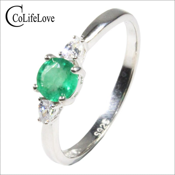 CoLife Jewelry 100% Real Emerald Ring for Engagement 5mm SI Grade Emerald Silver Ring 925 Silver Zambia Emerald Jewelry