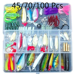 PULLINE 45/70/100PCS Fishing Lures Spinners Plugs Spoons Soft Bait Pike Trout Salmon Set Treble Hooks  Fish Hooks Without Box