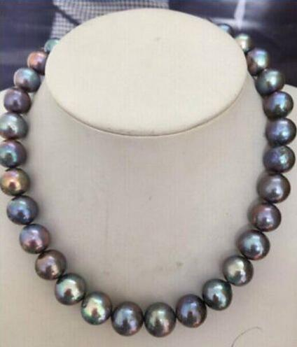 shipping HUGE PERFECT 10-11 mm TAHITIAN BLACK RED GREEN PEARL NECKLACE17.5""