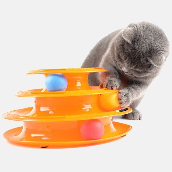 Kitten Three Levels pet cat toy Tower Tracks Disc cat Intelligence Amusement triple disc cat toys ball Training Amusement plate