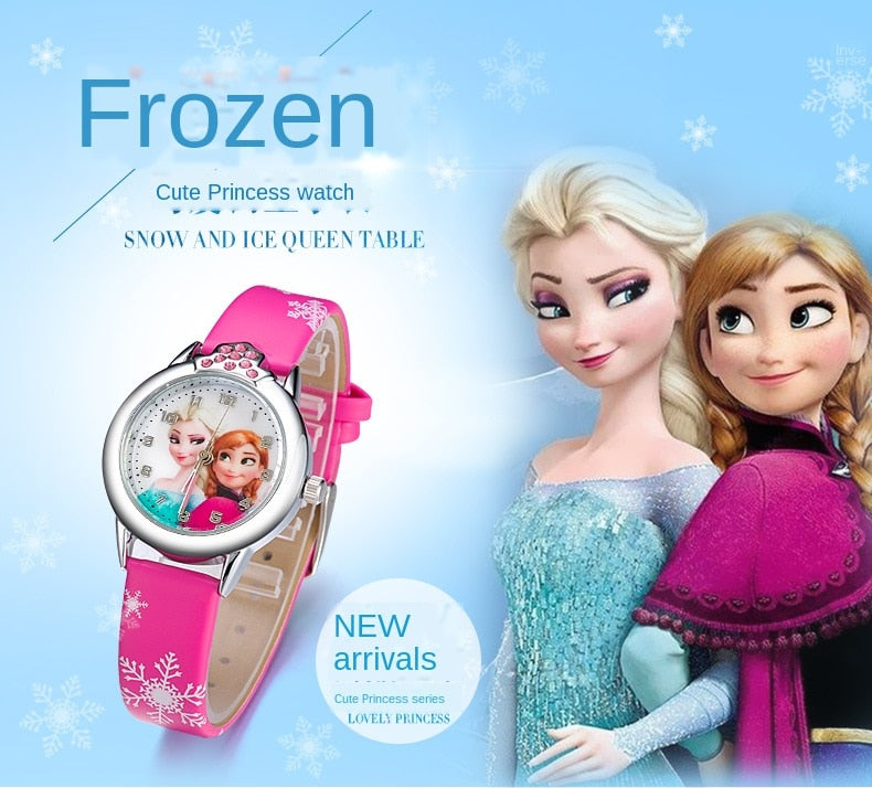Elsa Watch Girls Elsa Princess Kids Watches Leather Strap Cute Children's Cartoon Wristwatches Gifts for Kids Girl watches