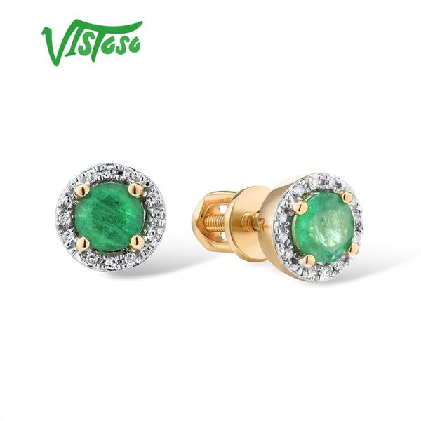 VISTOSO Gold Earrings For Women Genuine 14K 585 Yellow Rose Gold Round Emerald Blue Sapphire Ruby Stud Earrings Fine Jewelry
