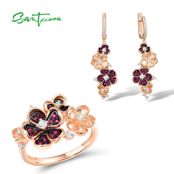 SANTUZZA 925 Silver Jewelry Set For Women Pure 925 Sterling Silver Flower Rose Color Shiny Created Ruby White CZ Fine Jewelry