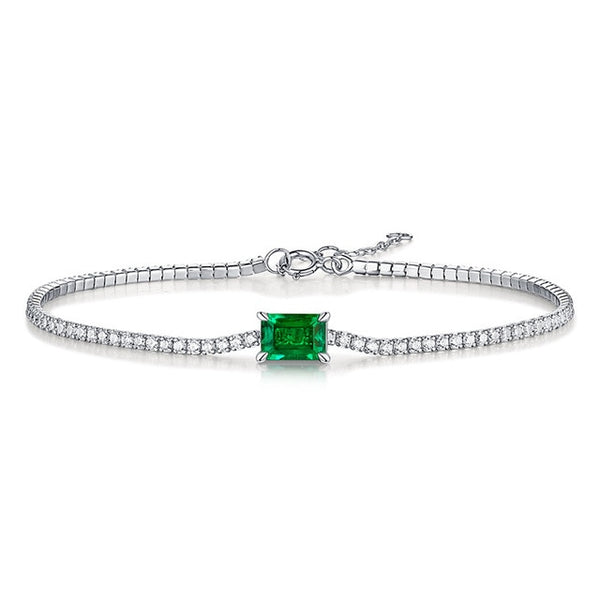 Jellystory luxury bracelet 100% 925 sterling silver 5*7mm rectangle 1ct emerald fine jewelry for female wedding engagement gift