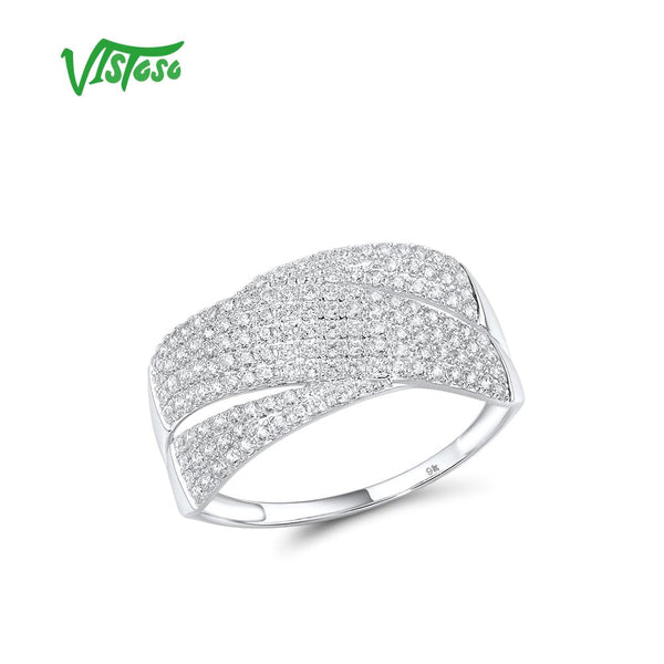 VISTOSO Gold Rings For Women Genuine 9K 375 White Gold Ring Sparkling White CZ Promise Band Rings  Anniversary Fine Jewelry