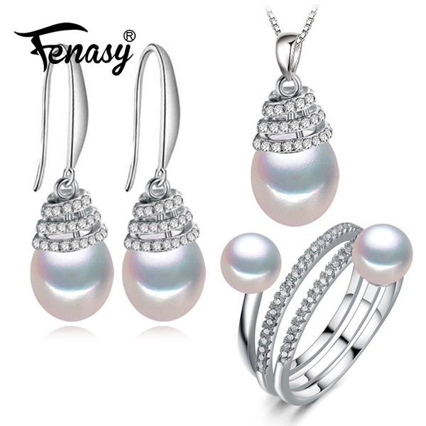 FENASY 925 Sterling Silver Jewelry Sets Natural Pearl Drop Earrings Necklace Wedding Pendant Necklaces For Women Party Ring Set