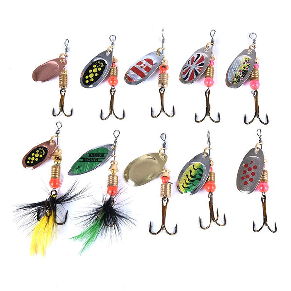 10pcs Fishing Lures Spoon Spinner Bait Fishing Wobbler Metal Baits Spinnerbait Artificial Bait Fishing Lure  For Fishing