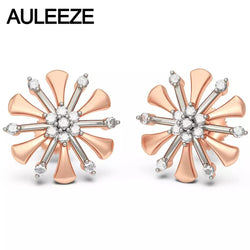 Snowflake Solid 14K 585 Two Tone Gold Stud Earrings Natural Diamond Earrings Fine Jewelry Noble Lady Wedding Engagment Earring