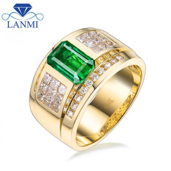 Luxury Natural Colombia Emerald Wedding Men's Rings Solid 14K Yellow Gold Princess Diamond Engagement Jewelry Ring for Husband