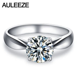 Classic Prong Setting 9K White Gold Wedding Ring 1CT Simulated Diamond Solitaire Engagement Rings For Women Valentine's Day Gift