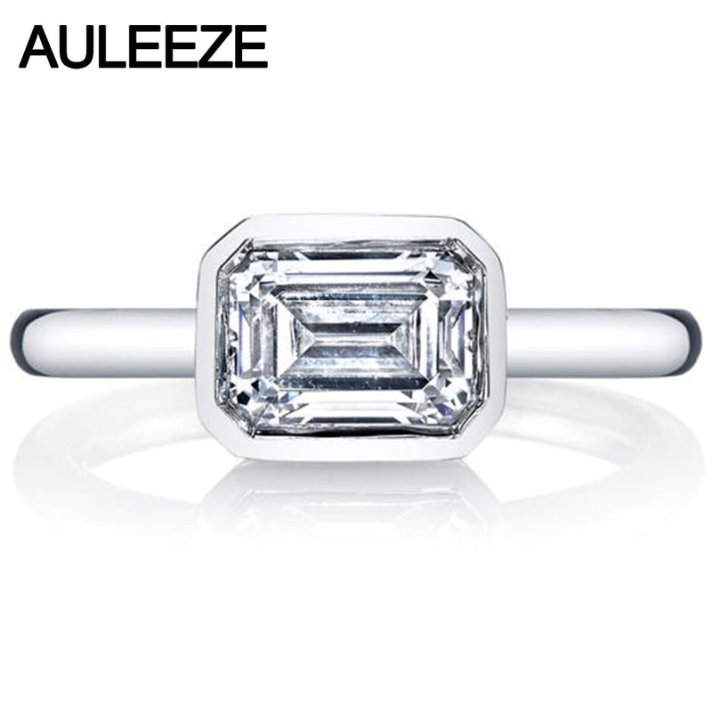 Emerald Brilliant Cut 2.6CT Simulated Diamond 9K White Gold Ring For Women Modern Bezel Set Diamond Solitaire Ring Engagement