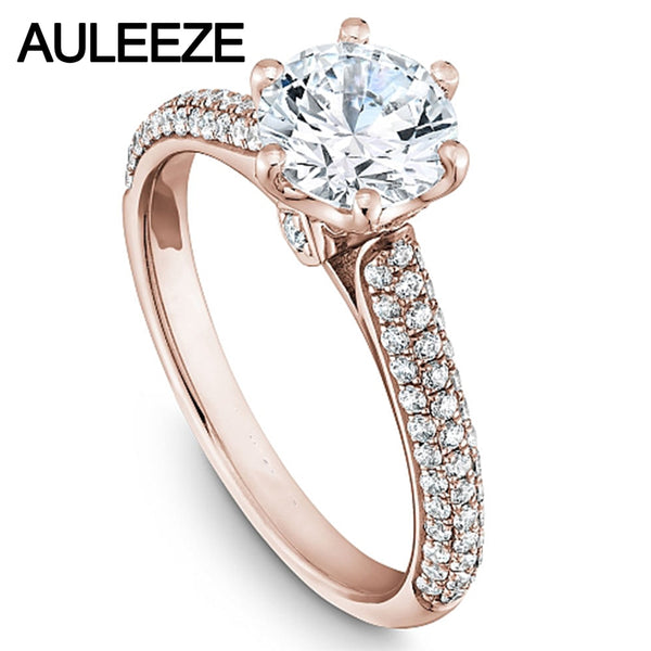 Noble Cathedral Trevi Diamond Engagement Ring 9K Rose Gold Brilliant Round Cut 1CT Simulated Diamond Wedding Rings For Women