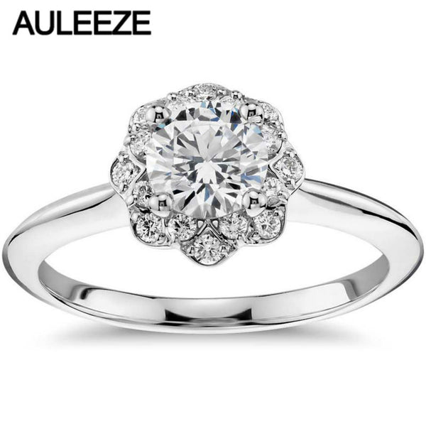 1CT Round Cut Lab Grown Diamond Wedding Ring Solid 14K White Gold Floral Halo Moissanites Anniversary Engagement Ring For Women