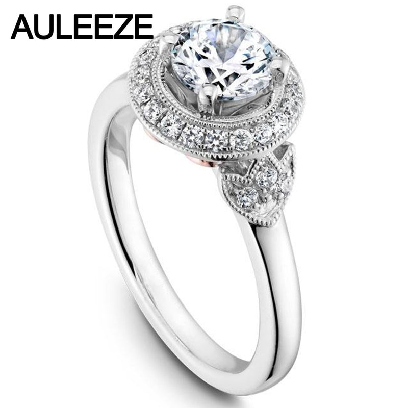 Vintage Floral Design 1CT Moissanites Lab Grown Diamond 14K 585 White Gold Engagement Wedding Ring For Women Christmas Jewelry