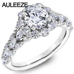 Romantic 14K White Gold Classic Halo Ring 1CT Lab Grown Diamond Ring Ladies Round & Marquise Moissanites Engagement Wedding Ring