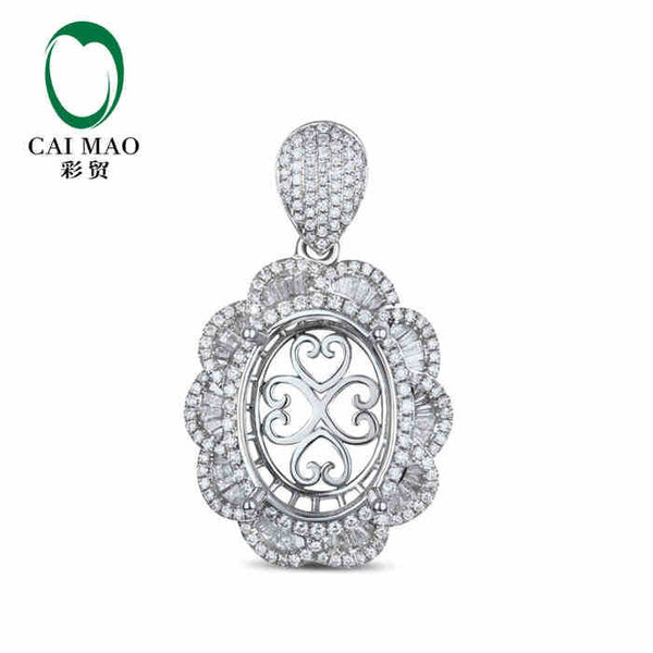 CaiMao Semi Mount  Pendant Oval cut Settings & 1.85 ct Diamond 18k White Gold Gemstone Engagement Fine Jewelry