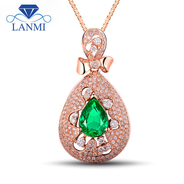 Newest  Natural Pear Shaped 7x9.5mm Emerald and Diamond Solid 18k Rose Gold Pendant Gemstone Jewelry for Women Anniversary WU267
