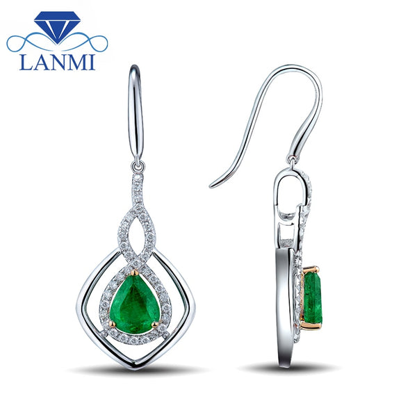 Women Jewelry Fantastic Gorgeous Pear 6x8mm Emerald Earrings In Solid 14Kt White Gold Diamond Gemstone Jewelry WP039