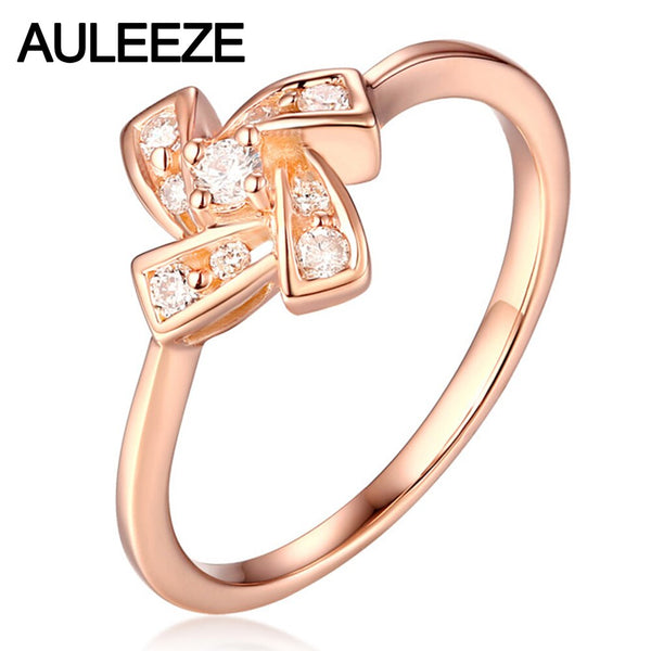 0.23cttw Real Diamond Engagement Ring Windmill Type Solid 18K Rose Gold Nutural Diamond Wedding Rings For Women Fine Jewelry