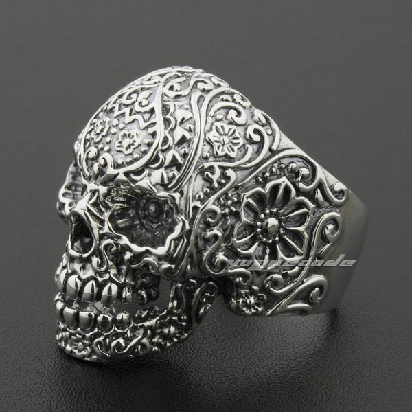 LINSION Solid 925 Sterling Silver Skull Ring Mens Biker Rock Punk Style 8V001 US Size 7.5 to 15