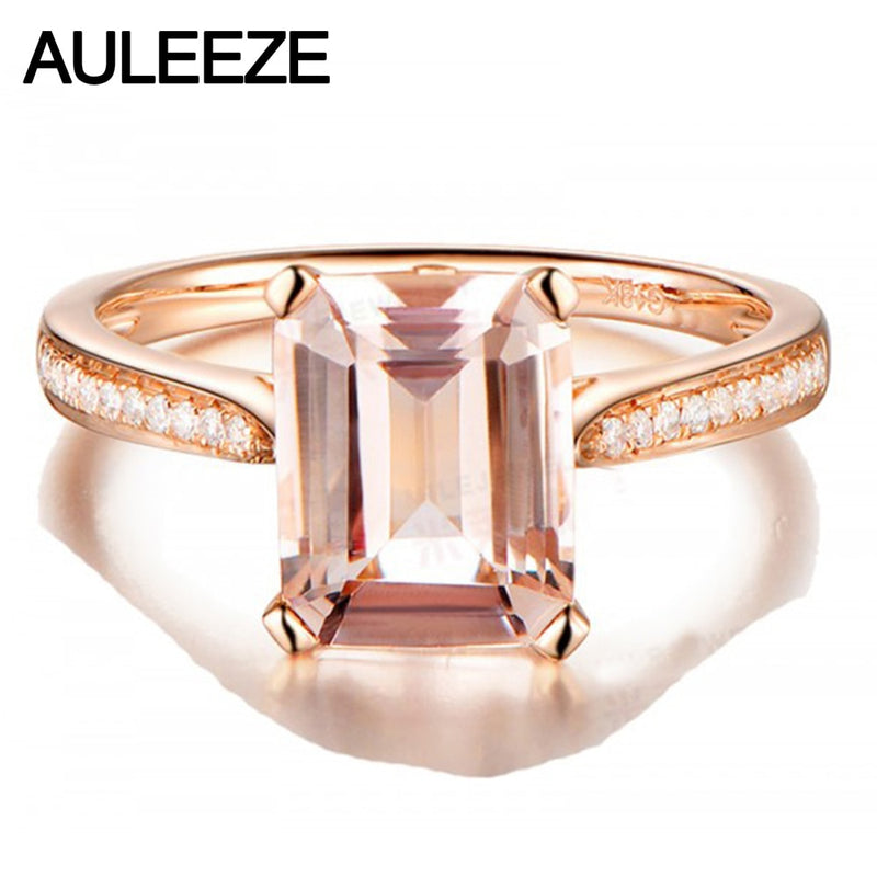 Emerald Cut 2CT Natural Morganite Ring 14K Rose Gold Morganite Ring Moissanite Diamond Wedding Engagement Ring Gemstone Jewelry