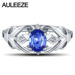 Solitaire 1.1CT Oval Natural Sapphire Ring Solid 14K 585 White Gold Diamond Engagement Wedding Rings Diamond Jewelry For Women