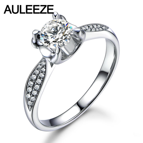 0.8CT Moissanites Ring Solid 18k White Gold Lady Wedding Ring Unique Minimal Prong Set Lab Grown Diamond Engagement Ring Jewelry