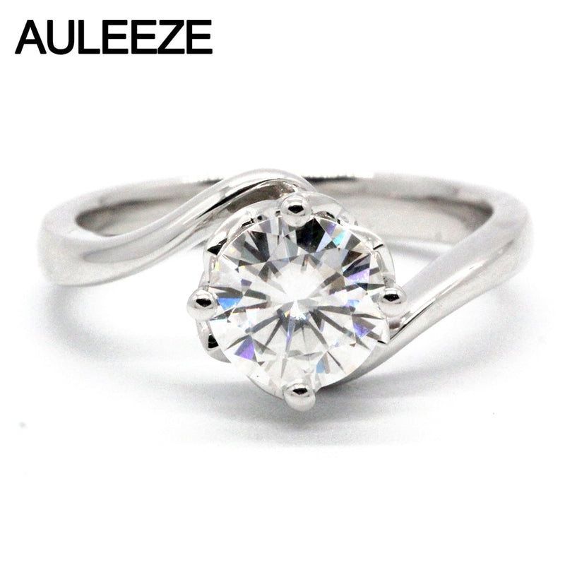 AULEEZE Solitaire Moissanite Ring Solid 18k White Gold 1CT Lab Grown Diamond Ring Wedding Engagement Ring For Women Jewelry