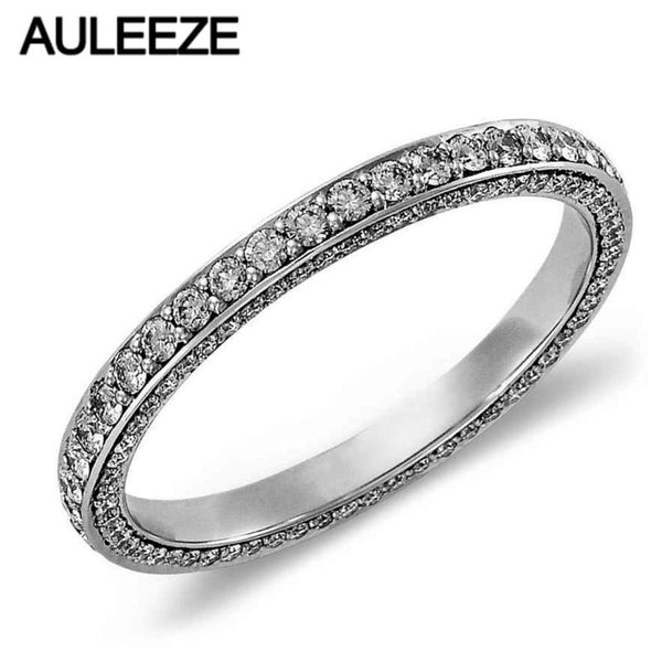 Fashion Trio Micro Pave Moissanites Lab Grown Diamond Eternity Wedding Band For Women Solid 14K 585 White Gold Engagement Ring