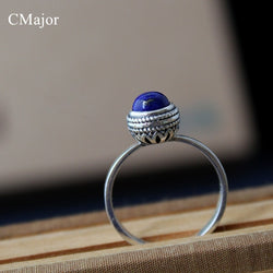 CMajor 925 sterling silver jewelry elegant classical style natural lapis lazuli rings for women best friend gift