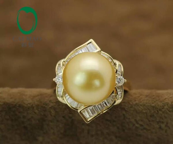 14k Yellow Gold precious Southsea Pearl Ring baguette manufacturer