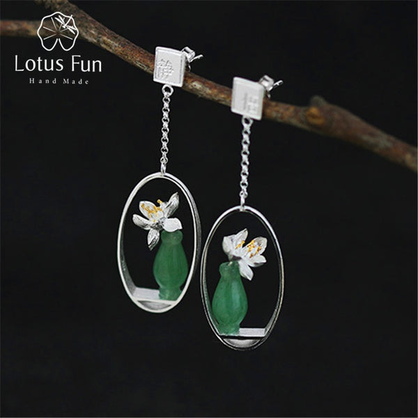 Lotus Fun Real 925 Sterling Silver Natural Stone Creative Handmade Fine Jewelry Lotus Whispers Drop Earrings for Women Brincos