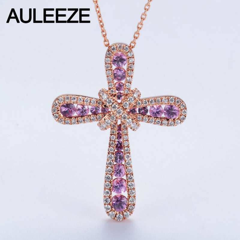 Luxury 1.1cttw Real Pink Sapphire Accents Pendant Necklace Natural Genuine Diamond Cross Design 14K Rose Gold Pendant 18' Chain