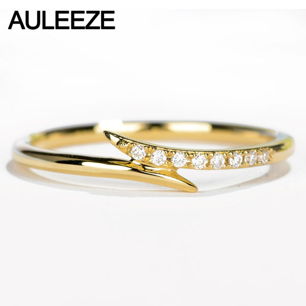 AULEEZE Real Diamond Ring 18K Yellow Gold Natural Diamond Wedding Band Pave Matching Band  Unique Unilateral Design Fine Jewelry