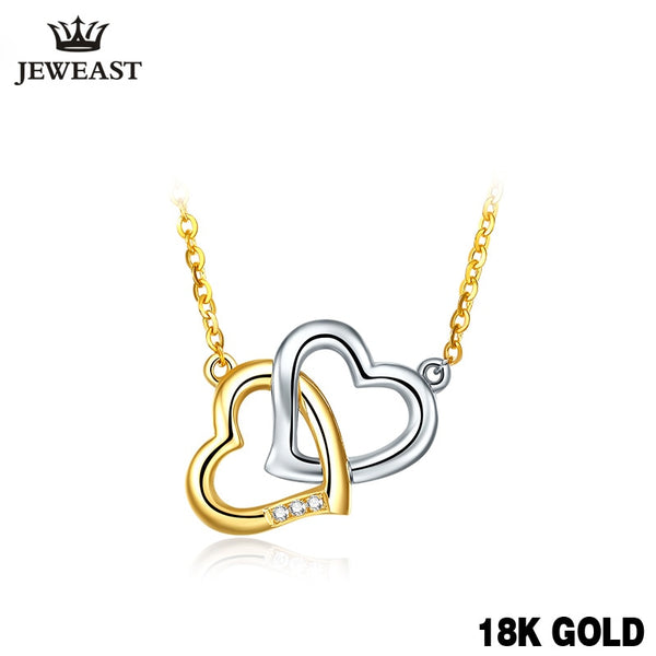 18K Gold Diamond Necklace Pendant Love Heart Lock Chain charm Gift Rose real natural pure women girl lover couple wedding party