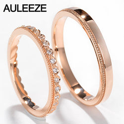 AULEEZE Real Diamond Wedding Band 18K 750 Rose Gold Engagement Promise Ring Romantic Couples Bridal Jewellery For Lovers
