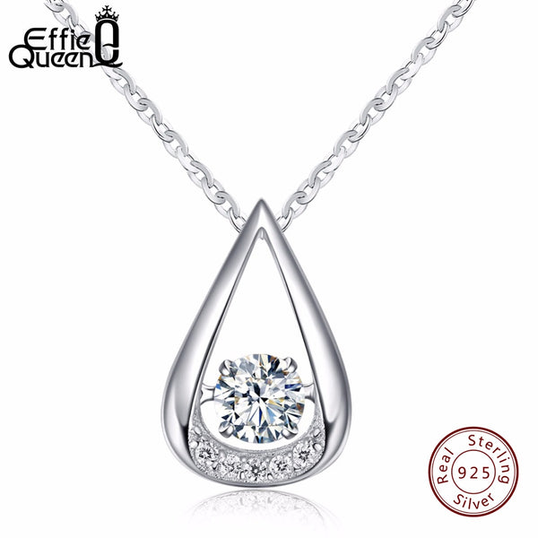 Effie Queen AAA CZ Stone 925 Sterling Silver Necklaces Flickering with Water Drop Pendant Necklaces BN40