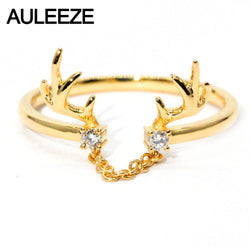AULEEZE Real Diamond Wedding Band For Women Lovely Deer Design 18K Solid Yellow Gold Wedding Stack Ring Diamond Jewelry Gifts