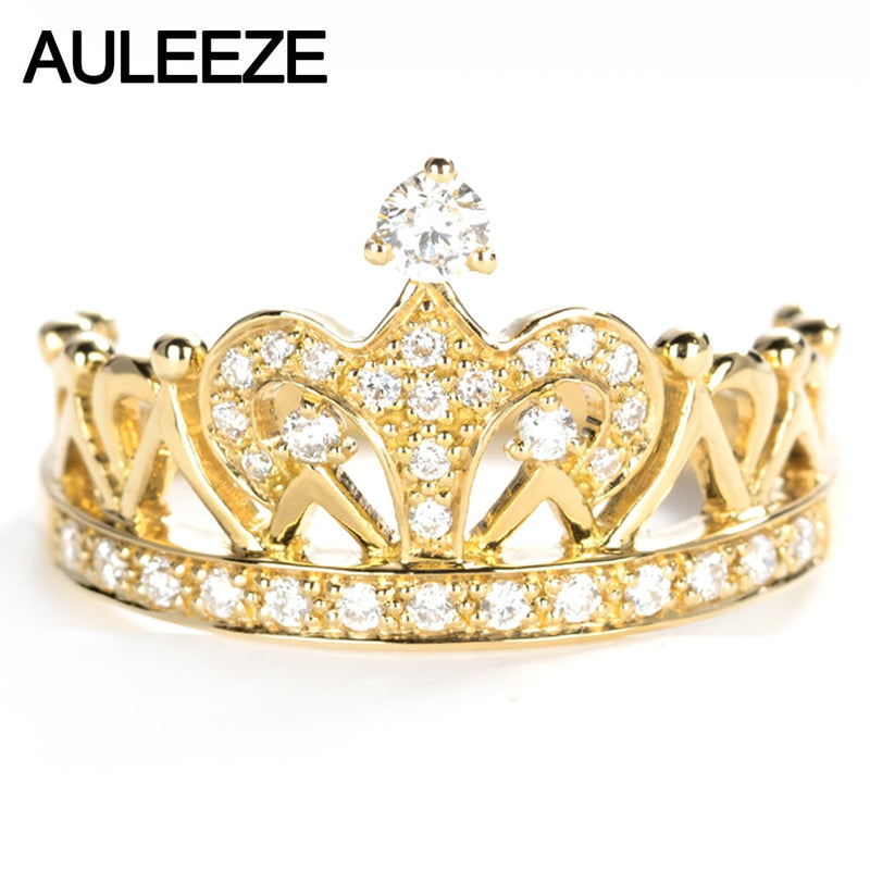 AULEEZE Vintage Natural Diamond Ring 18K Yellow Gold 0.3CT Round Cut Real Diamond Crown Wedding Ring For Women Fine Jewelry