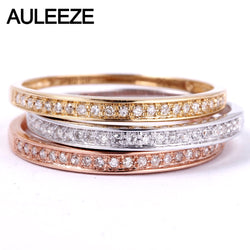 AULEEZE Classic Solid 18K Gold Real Diamond Wedding Band 750 White Gold Anniversary Rings For Women Ladies Ring Fine Jewelry