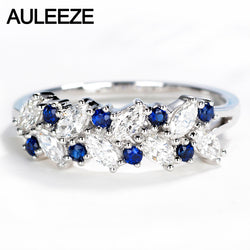 AULEEZE Round Cut Natural Sapphire Gemstone Ring Real Diamond Band 18K Solid White Gold Anniversary Rings For Women Fine Jewelry