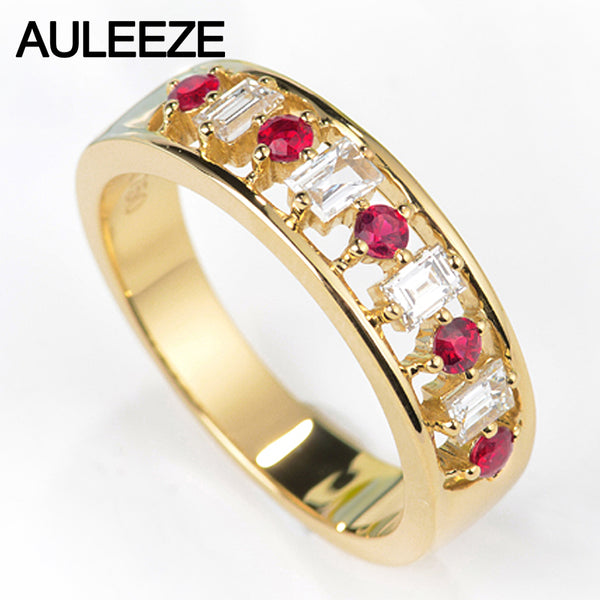 AULEEZE Classic Natural Ruby Gemstone Ring 18K Solid Yellow Gold Engagement Wedding Rings For Women Real Diamond Band Jewelry