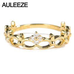 AULEEZE Crown Design Natural Diamond Ring 18K Yellow Gold Women's Rings Real Diamond Fine Jewelry Vintage European Gifts