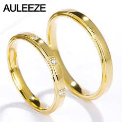 AULEEZE Romantic Three Stone Real Diamond Ring For Couple Lovers Diamond Jewelry 18k Yellow Gold Wedding Engagement Ring