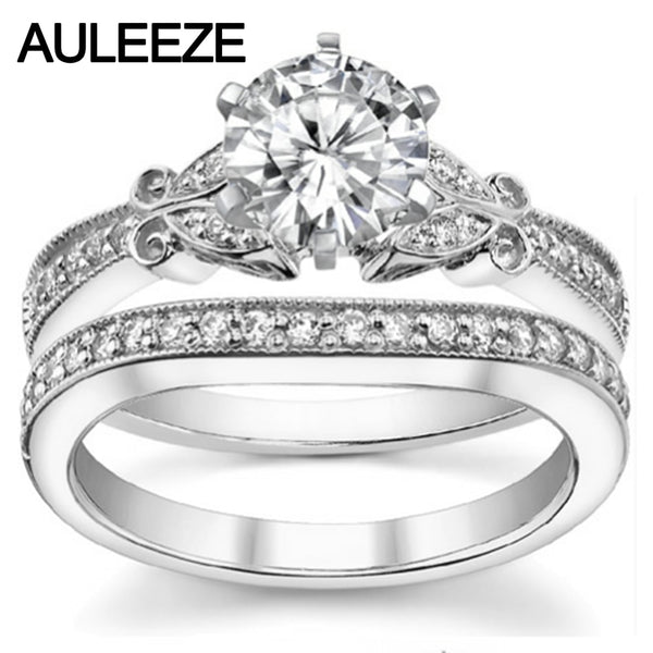 Moissanite Wedding Sets 14K 585 White Gold 1CT Round Lab Grown Diamond Classic Engagement Ring Bridal Wedding Band Fine Jewelry