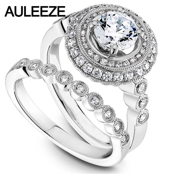 Luxury Round Cut Diamond Wedding Bride Set 1ct Moissanites Lab Grown Diamond Halo Double Bezel Engagement Wedding Rings
