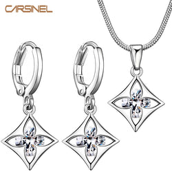 CARSINEL Zircon Square Flower Jewelry Sets Clear Hoop Earring Pendant Necklace Charm Jewelry Set Silver color Jewelry for Women